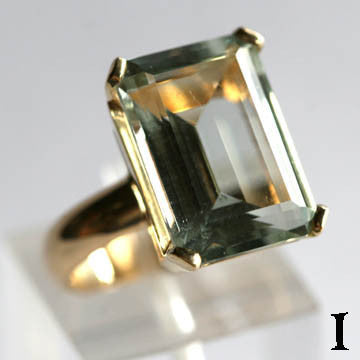 14Kt Gold Ring 11ct Prasiolite Ring High Fashion Bruce Magnotti Cocktail Ring Fine Jewelry Size 5 1/4