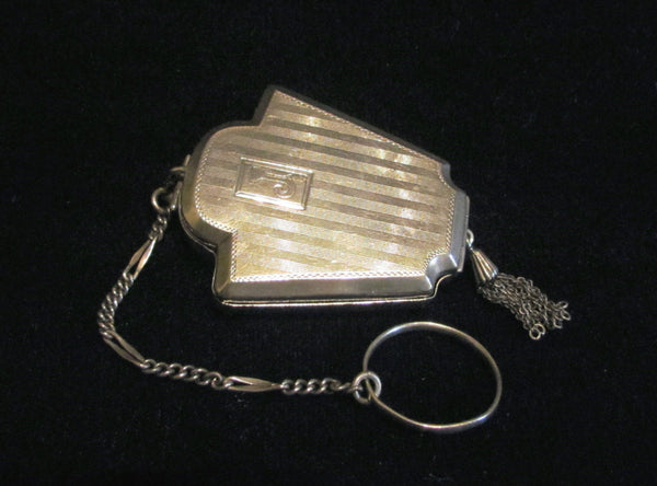 Antique Foster And Bailey Sterling Silver Compact Finger Ring Purse