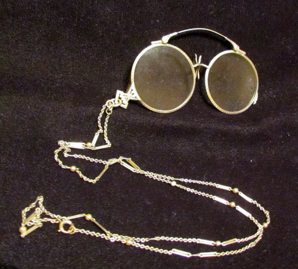 Victorian Pince Nez Eyeglasses Lorgnette Spectacles 12K Gold Filled 1800s Ladies Eye Glasses Necklace Excellent Condition