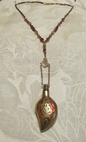 Chatelaine Perfume Bottle Necklace Vintage Gold Enamel One Of A Kind Beaded Necklace