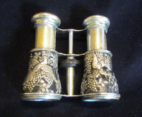 1940s Occupied Japan Binoculars Bird Enamel Motif Opera Glasses Jockey Sports Glasses