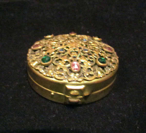 Antique Ormolu Jeweled Compact Unique Powder Box