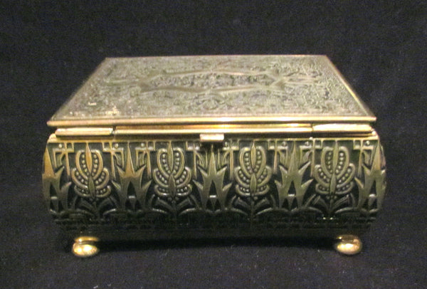 Vintage Gold Cigarette Box Brass Tabletop Cigarette Case Trinket Box Jewelry Box