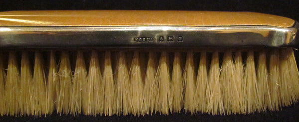 Sterling Silver Yellow Guilloche Clothing Brush 1930s Birmingham England W.G.S.Ltd Mint Condition