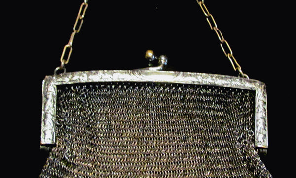 Antique German Silver Soldered Mesh Purse Victorian Excellent Condition