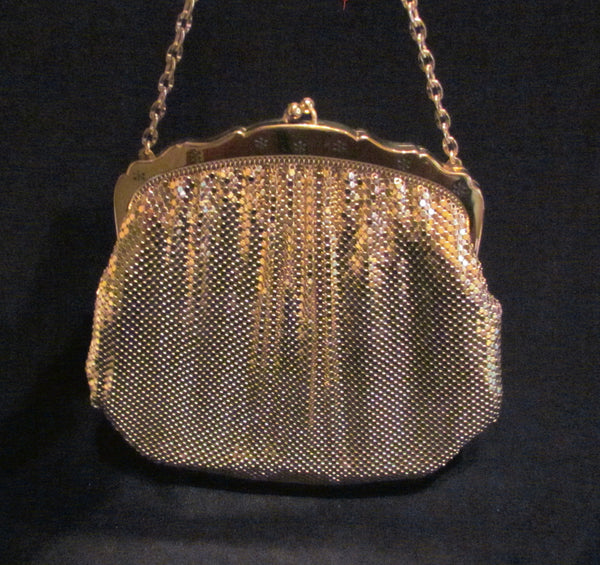Whiting Davis Gold Mesh Formal Purse 1940s Evening Bag Unused Wonderful Condition