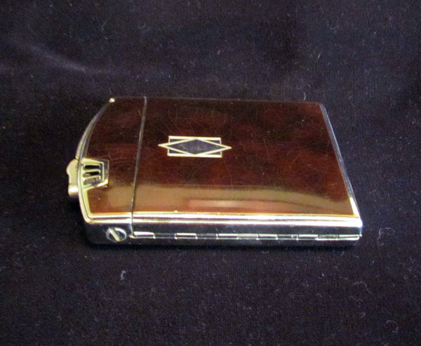 1930s Ronson Twenty Case Lighter Art Deco Enamel Art Metal Works Cigarette Case