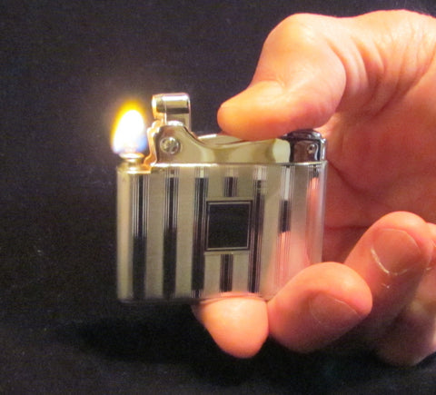 Vintage Ronson Silver Lighter Adonis Unused Working In Original Box Mint