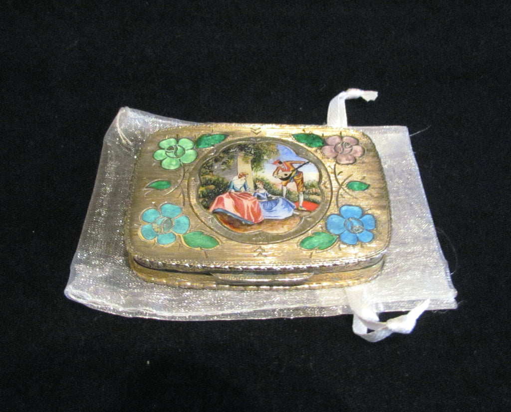 Antique 800 Silver Compact Enamel Courting Scene Guilloche