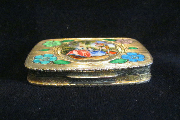 Antique 800 Silver Compact Enamel Courting Scene Guilloche Flowers Excellent Condition