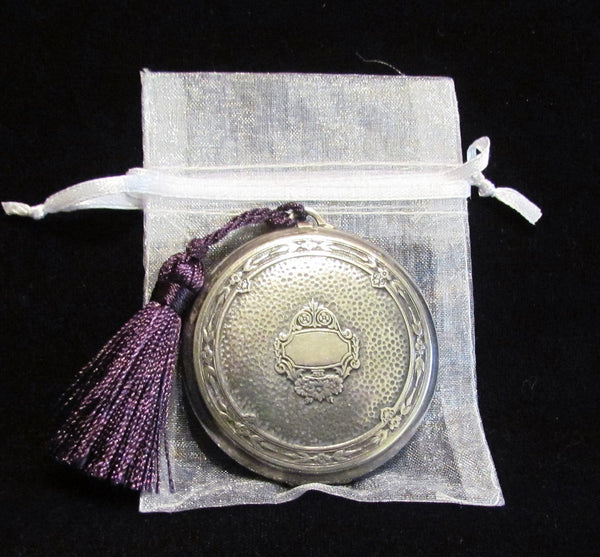 Victorian Djer Kiss Compact 1920s Silver Plated Powder Compact