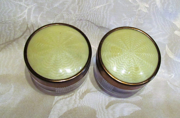Vintage Vanity Jar Set Art Deco Powder Jars 1940s Guilloche Celluloid & Glass Trinket Holders