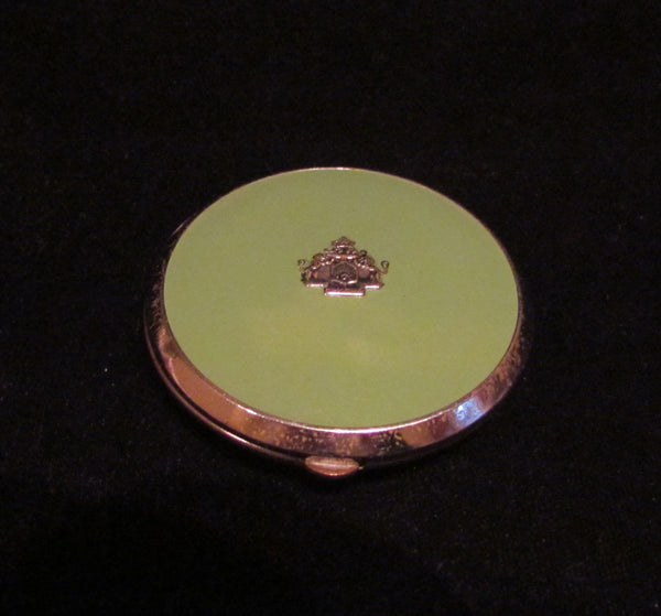 Vintage Evans Mayfair Compact Coat Of Arms Green Enamel Dial Sifter Compact
