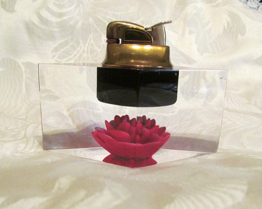 Evans Clearfloat Table Lighter Diamond Shape Red Rose Working Lighter