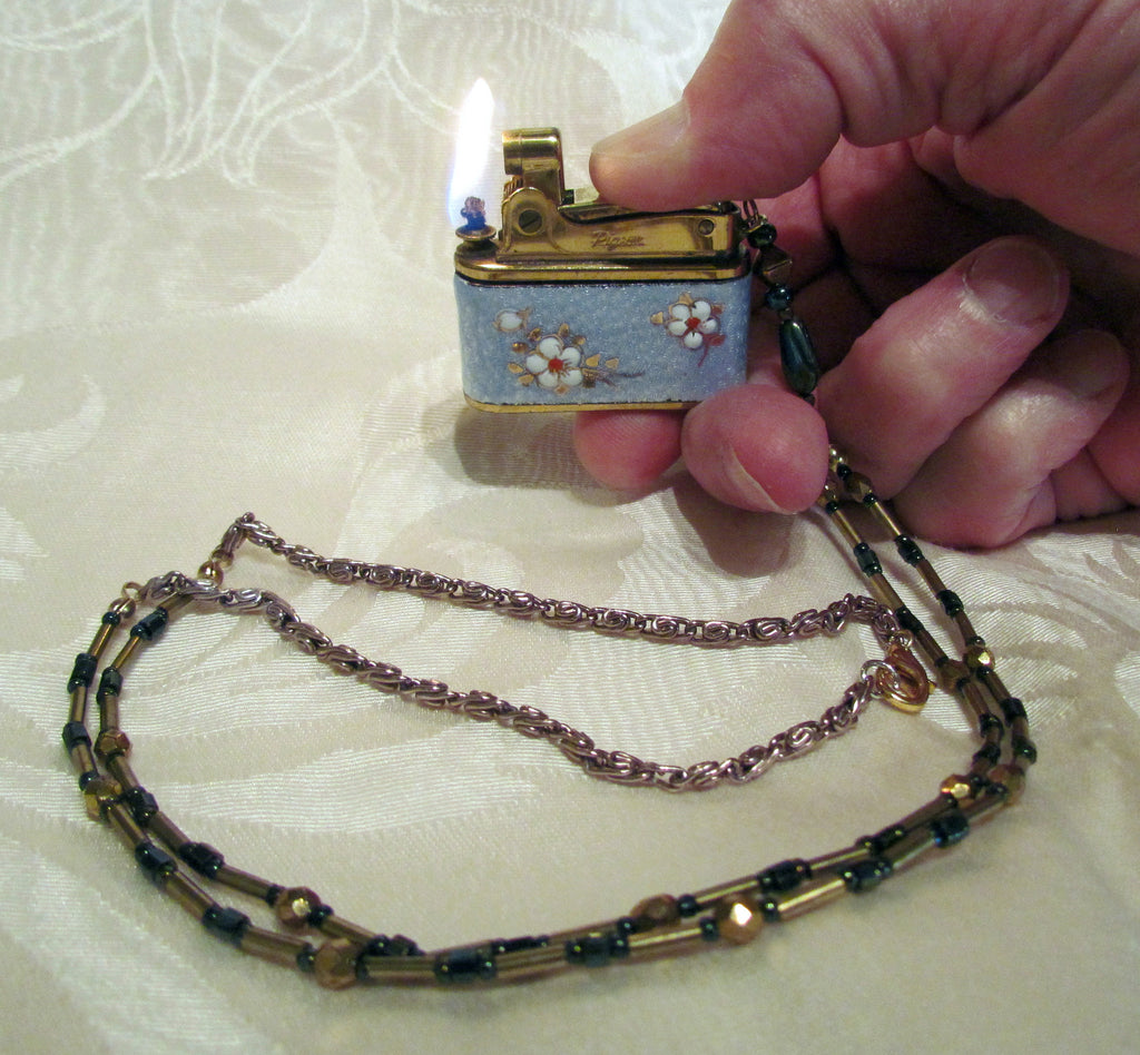 Vintage Guilloche Lighter Necklace OOAK Handmade Chain Working Pigeon Floral Lighter