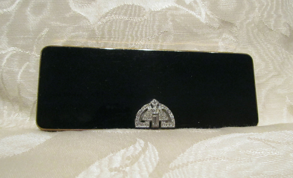 Volupte Black Enamel Compact 1940s Rhinestone Compact Art Deco Carryall Purse