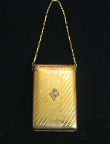 1900s Gold Filled Terri Compact Purse Diamond Marcasite Adornment