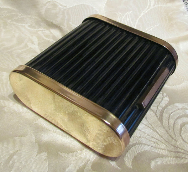 Roll Top Cigarette Box Park Sherman Black Bakelite Case Jewelry Trinket Box