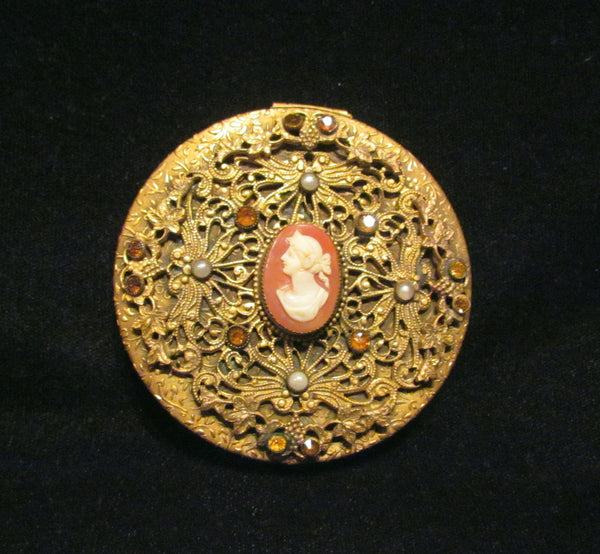 1800's French Cameo Gold Filigree Amber Jeweled Pearl Powder Mirror Compact Rare