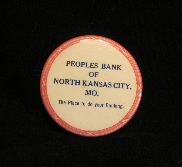 Rare Vintage Advertising Powder Compact Tin Peoples Bank North Kansas City MO