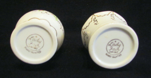 Vintage Lady Fair Perfume Bottle Set 2 Porcelain Hand Painted Atomizer Perfume Bottles