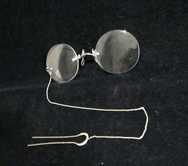 Pince Nez Eyeglasses Victorian Spectacles 14K White Gold 1800s SHUR-ON Ladies Glasses With Hairpin & Case Excellent Condition
