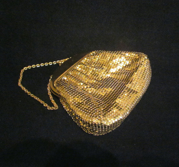 1930's Whiting And Davis Purse Vintage Gold Mesh Wedding Handbag Formal Evening Bag