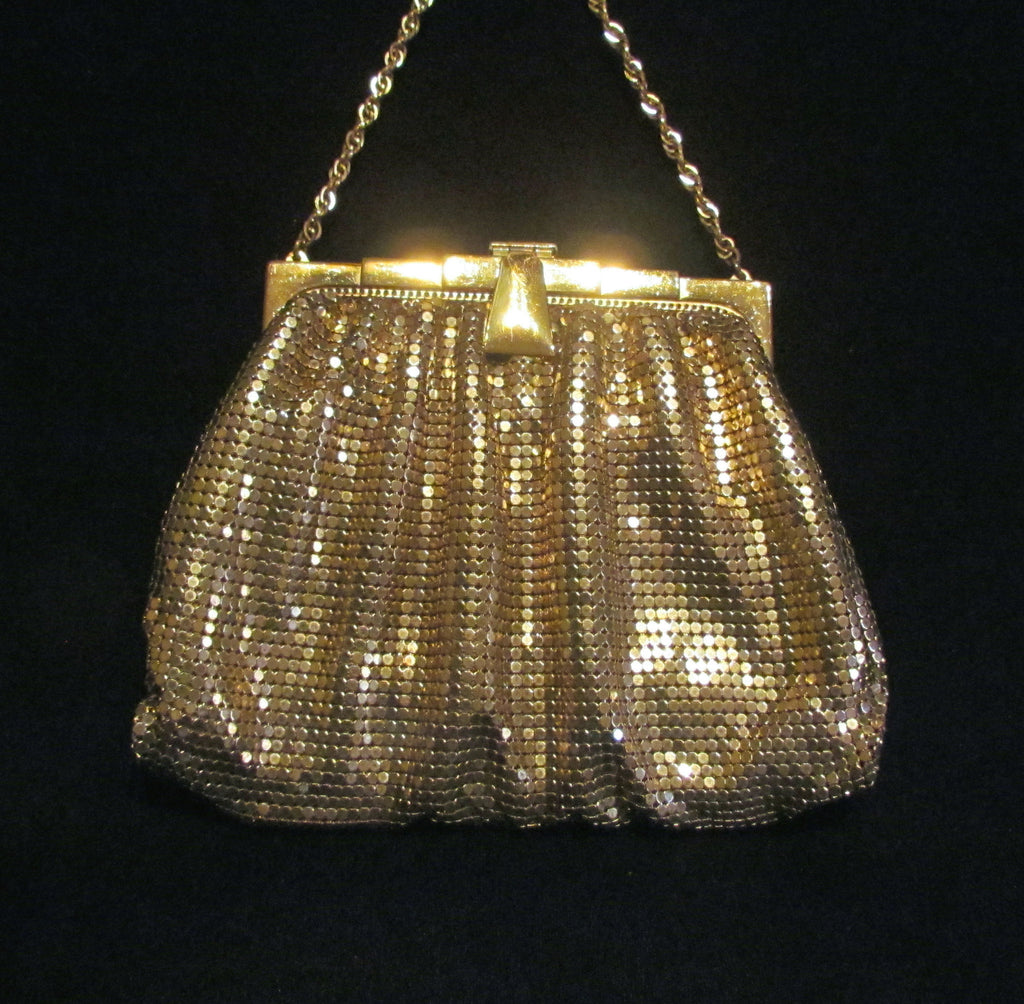 1930s Whiting Davis Gold Mesh Purse Art Deco Purse Vintage Wedding Bridal Formal Evening Bag