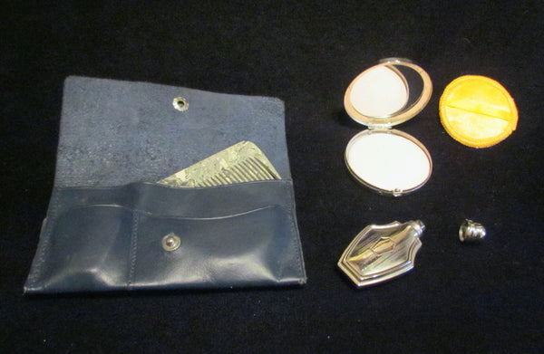 1910s Nickel Silver Compact Set Perfume Bottle Powder Compact Bakelite Comb Leather Purse Unused Extremely Rare