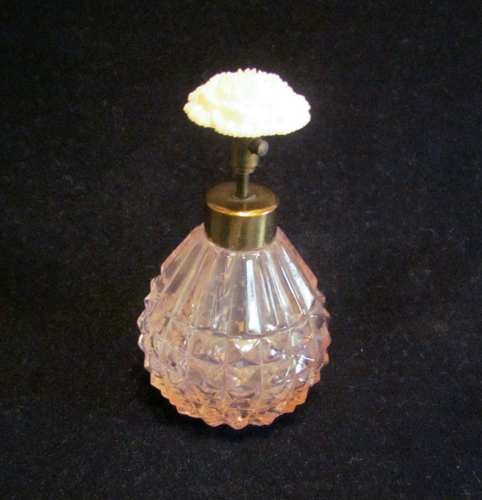 1940s Atomizer Perfume Bottle Pink Depression Glass Floral Carnation Excellent Working Condition