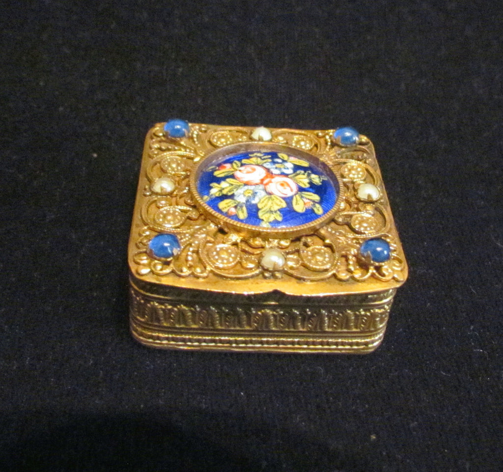 French Gold Filigree Compact Guilloche Enamel White Pearls Blue Stones Antique Powder Box 1800's RARE