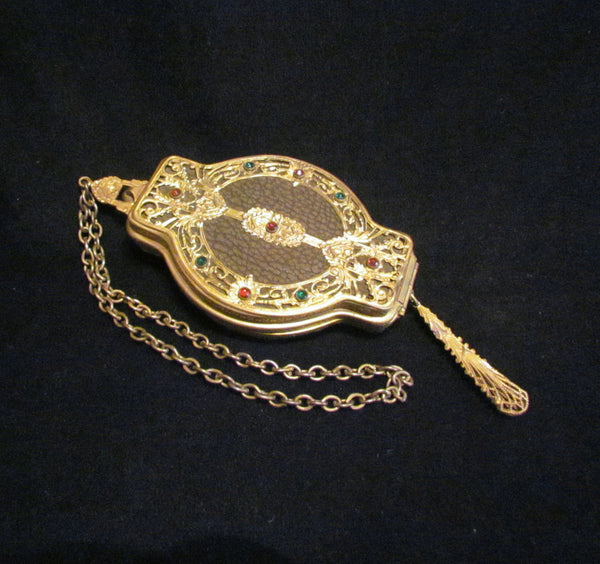 Antique Gold Filigree Rhinestone Purse Rare 1800s Wristlet Purse Stunning Excellent Condition