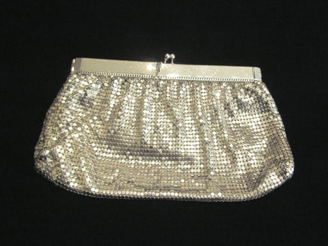 Whiting Davis Silver Mesh Clutch Purse 1940's Formal Evening Bag Bridal Wedding Purse