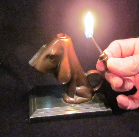 1930s Ronson Striker Lighter Bronze Hound Dog Art Deco Art Metal Works Working Lighter