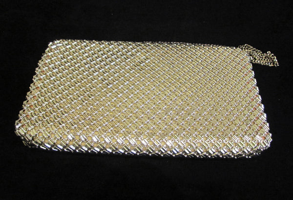 Whiting Davis Silver Mesh Clutch Purse 1930s Shoulder Bag Vintage Envelope Style Formal Purse