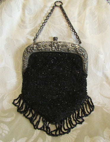 1910s Steel Cut Bead Purse Antique Chatelaine Black Beaded Bag Art Nouveau Silver Tennis Racket Frame