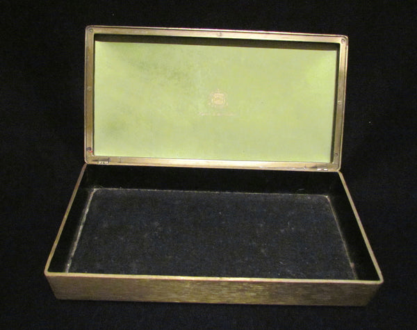 1950s Evans Guilloche Smoking Set Green Enamel Lighter Cigarette Box Ashtray Tabletop Working Lighter Mint Condition