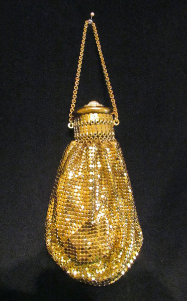 1920s Whiting Davis Rhinestone Gold Gate Top Purse Gold Mesh Handbag Beggars Bag GateTop Accordion Purse Bridal Bag