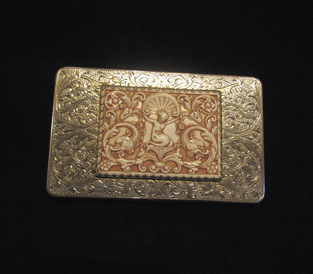 vintage evans cigarette case 1940s mermaid asian silver and gold