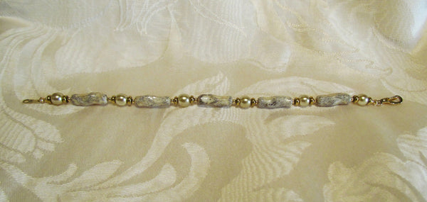 14kt GF Handmade Bracelet Bronze Pearl And Handmade Bead One Of A Kind Bracelet