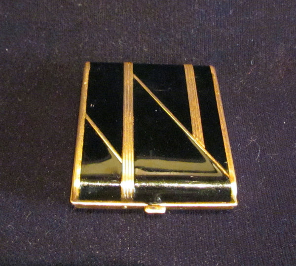 Vintage Vanstyle Black Enamel Powder And Rouge Compact 1930's