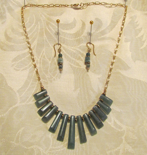 14kt GF Necklace & Earrings Set Green Aventurine Cleopatra Nile OOAK Beaded Necklace Set 14kt Gold Filled Earrings