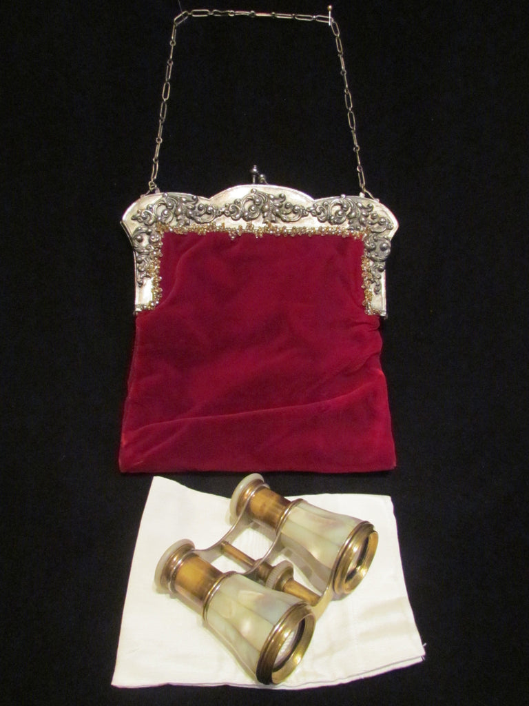 Lamier Paris Opera Glasses 1800's French Mother Of Pearl Binoculars Antique Theater Glasses In Red Velvet And Nickel Silver Purse