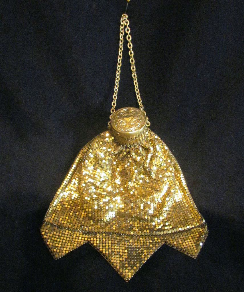 1920s Whiting And Davis Gate Top Purse Vintage Accordian Purse Antique Beggars Bag Gold Mesh GateTop Expandable