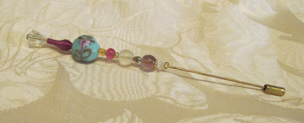 OOAK Handmade Stick Pin Beaded Hat Pin One Of A Kind Iridescent Crystal