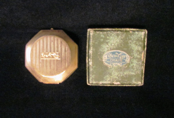 Vintage Djer Kiss Compact Powder Rouge Mirror Gold And Green Enamel With New Boxed Powder & Puff Refill