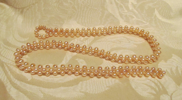 Pink Pearl Necklace Mother Of Pearl Handmade OOAK Freshwater Pearl Necklace