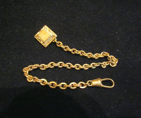 1900s Gold Watch Chain Fob Button Blank Cartouche For Engraving