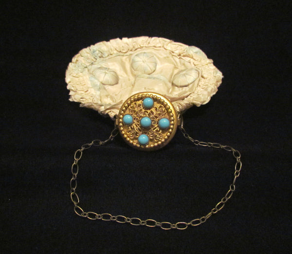 Circa 1920s Silk Gate Top Purse Gold Filigree Turquoise Stone Wristlet Purse