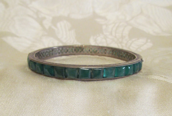 Vintage Sterling Silver Bracelet 1930s Green Aventurine Excellent Condition